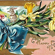 Easter Postcard with Bouquet of Daffodils and Sweet Easter Bunnies