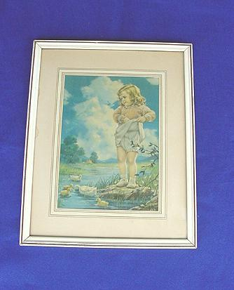 1930's-40's Girl w/ Ducks Framed Print