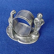 Early 1900's Napkin Ring w/ Boy & Parrot