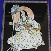 Art Deco Serenading Senorita Reverse Painted Foil Pic