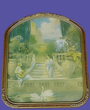 1920's Ladies with Swans Print in Ornate Frame