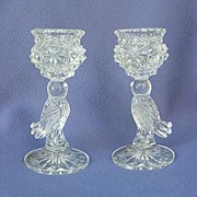 Hofbauer Bird Figural Crystal Candleholders