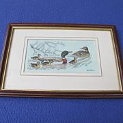 Framed Woven Silk Picture of Mallard Ducks from England