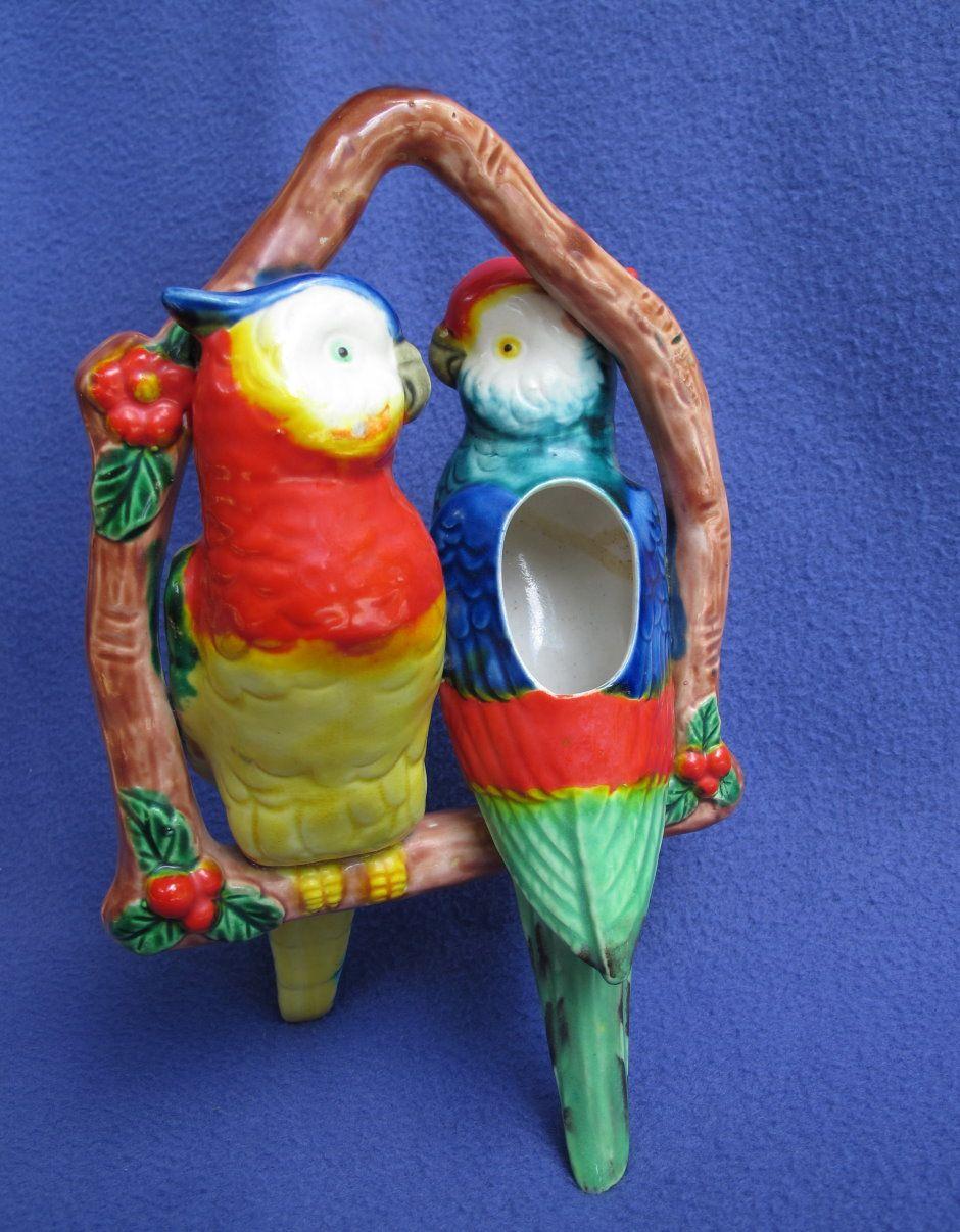 Majolica Hanging Cockatoo Planter (aka The Dangling Duo!)
