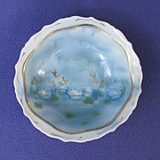 Footed Porcelain Bowl with Swans