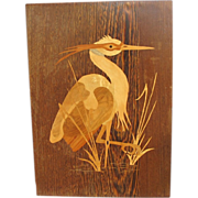 Intarsia Inlaid Wood Heron Plaque from Europe
