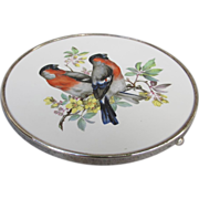 Wallace Sterling Porcelain European Bullfinch Hotplate Trivet