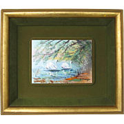 Enamel Over Copper Framed Swan Picture