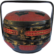 Vintage Red and Black Lacquer Chinese Wedding Basket with Birds