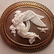 Amazing Shell Cameo Brooch of Nyx, Victorian ca 1860