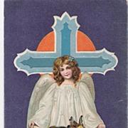 """A Joyous Easter-Tide"" - Angel - Rabbits - Easter Eggs - Religious Postcard"