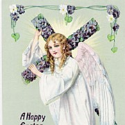 """A Happy Easter to you"" - Angel - Cross - Religious - Postcard"