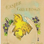 """Easter Greetings"" - Baby Chick Hatching - Lillies - For-get-me-nots"