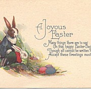"""A Joyous Easter"" - Rabbits in Human Clothing & Colored Eggs"