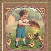 """A Happy Easter"" - Cute boy feeding the baby chicks"