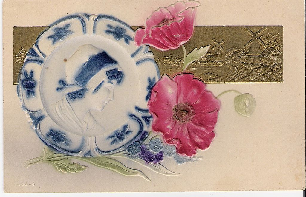 """Delft Plate with Red Flowers"