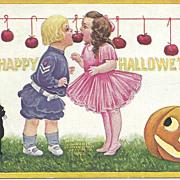 A Happy Hallowe'en - Children - Black Cat - Pumpkin