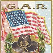 """G.A.R , To My Comrade"" - Flag, Medal, Hat & Gun/Sword crossed"