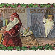 """Christmas Greetings"" - Santa - Child -Copyright 1907 - Postcard"