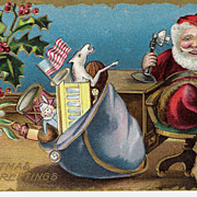 """Christmas Greetings"" - Santa Claus - American Flag"