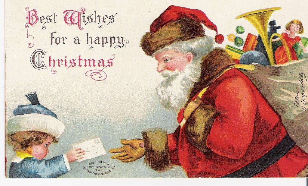 """""""Best Wishes for a Happy Christmas"""" - Santa Claus - Christmas - Artist Signed"""