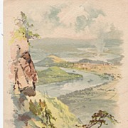 """View from Lookout Mountain - Clark's Thread - Advertising Trade Card"