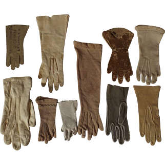 Ten single leather and cloth doll gloves
