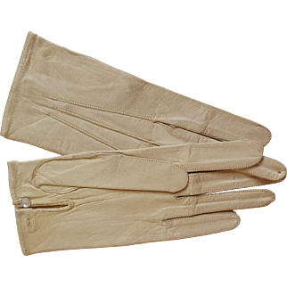 White Leather Doll Gloves, Excellent Condition