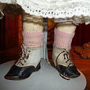 Wonderful antique two tone leather doll boots