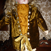 Antique silk and velvet jacket dress for small to medium doll