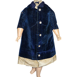 Beautiful antique velvet and brocade royal blue doll dress with bustle