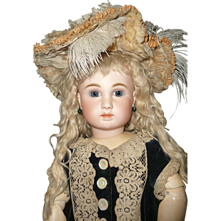 Spectacular antique woven straw and silk bonnet for medium to large doll