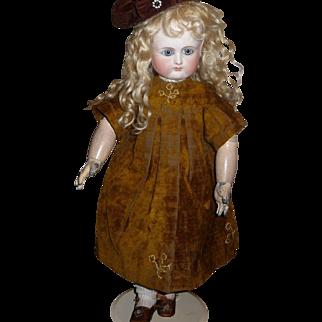 Wonderful antique velvet doll dress for medium size german or french doll