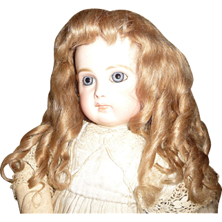 SALE Gorgeous antique dark blond mohair doll wig with bangs and ringlets