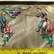 19th Chinese gouaches painting on pith rice paper of 4 warriors in Qing dynasty dresses N1