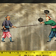 19th Chinese gouaches painting on pith rice paper of 2 warriors in Qing dynasty dresses N2