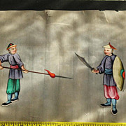 19th Chinese gouaches painting on pith rice paper of 2 warriors in Qing dynasty dresses N6