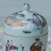 Chinese porcelain tea caddy circa 1900