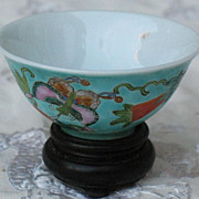 Chinese porcelain wine cup butterflies circa 1900