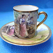 Limoges Handpainted Cup & Saucer