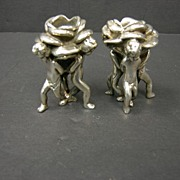 Sterling Figural Putti Candlesticks