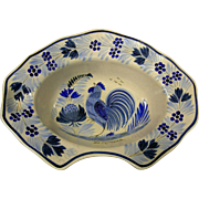 Rustic French Quimper Pottery Blue Rooster Motif Barber Bowl