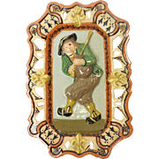 French Quimper Pottery Porquier Beau Bagpipe Player With Fleur-De-Lis Plaque