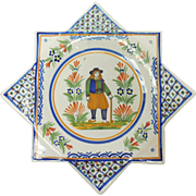 French Faience Quimper Pottery Eight Cornered Breton Motif Decorative Plate