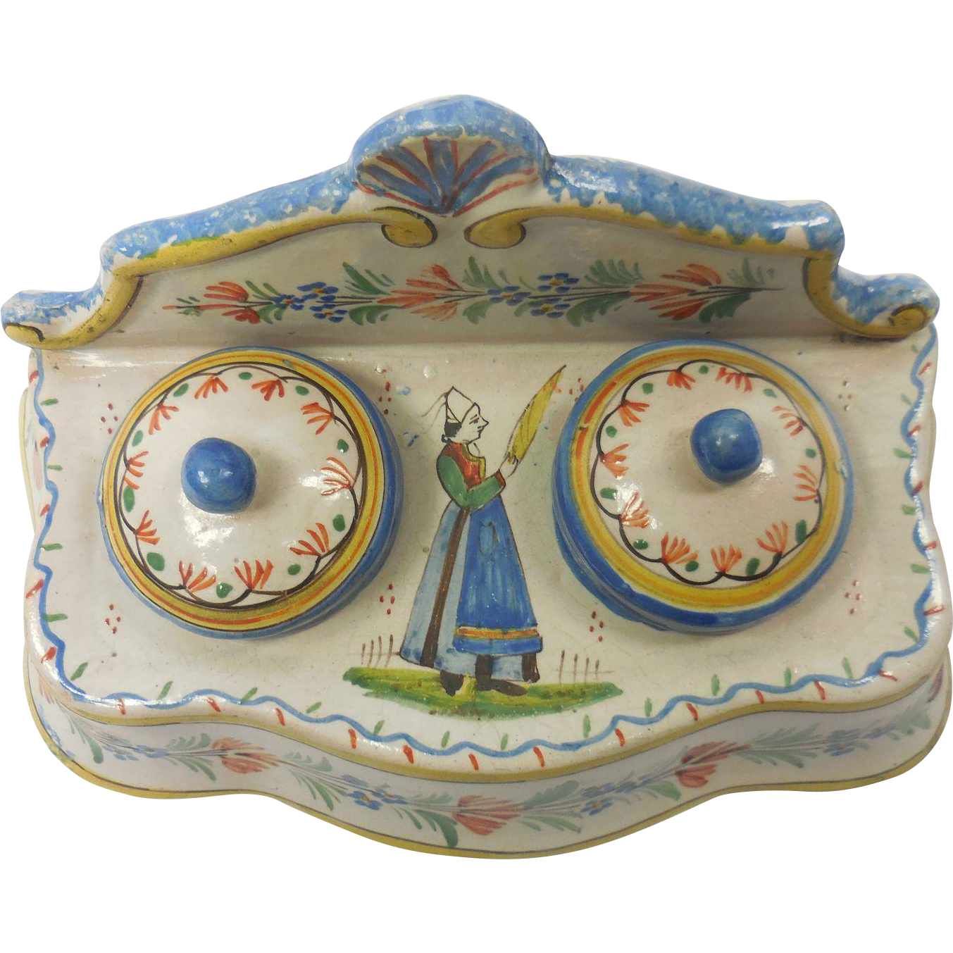 Early French Quimper Pottery Breton & Seashell Motif Double Inkwell Inkstand