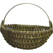 REDUCED Desirable Small Size Splint White Oak Woven Oval Basket  !