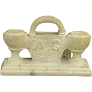 REDUCED Rare Double Match Holder carved from Single Piece of White Marble !!!