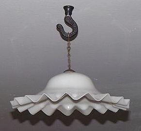 PAIR of Blown  White Glass Smoke Bells with Ruffled Edges & Brass Hanging Chain !