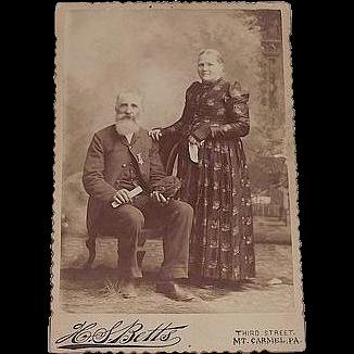 "Civil War Veteran Studio Photo of David Morgan in G.A.R. Uniform "" Shamokin,Pa. Lincoln Post # 140 ""   & his wife Martha Morgan. Ca.1890-91 ."