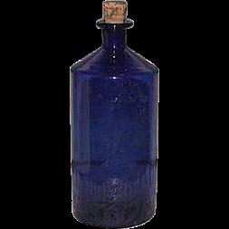Free Blown Apothecary Cobalt Blue Glass Bottle !!! Civil War Period Poison Bottle.